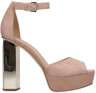 Michael Kors Petra Platform Sandals In Rose-pink Suede