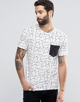 ONLY & SONS T-Shirt with All Over Print and Contrast Pocket