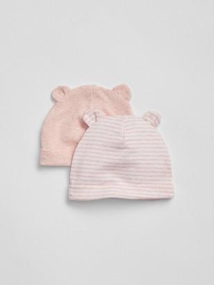 Gap Baby First Favorite Stripe Bear Hat (2-Pack)