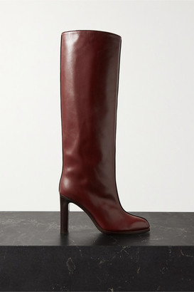 The Row Leather Knee Boots - Burgundy
