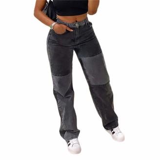 Huyghdfb Womens Patchwork Straight Leg Jeans High Waist Mid Rise Stretch Denim Pants A-line Vintage Pencil Trousers (Black Grey XXL)