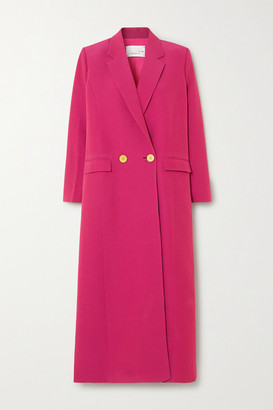 Bouguessa Double-breasted Crepe Coat - Magenta