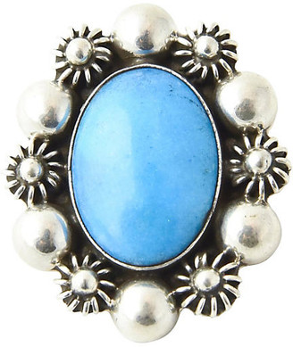 One Kings Lane Vintage Turquoise in Silver Floral Frame Brooch - Owl's Roost Antiques