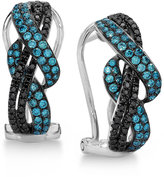 LeVian Le Vian Exotics® Gladiator WeaveTM Blue and Black Diamond Earrings (3/4 ct. t.w.) in 14k White Gold