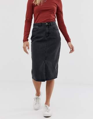 JDY denim midi skirt in washed black