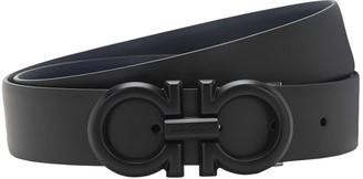 Salvatore Ferragamo 3.2cm Black Logo Reversible Leather Belt