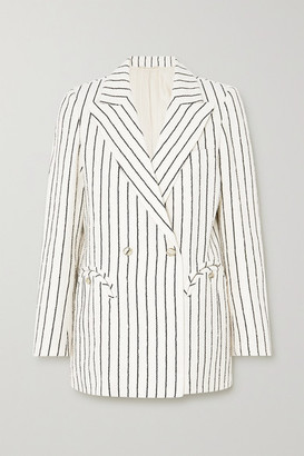 BLAZÉ MILANO Roanoke Everyday Double-breasted Striped Cotton-blend Blazer - Off-white