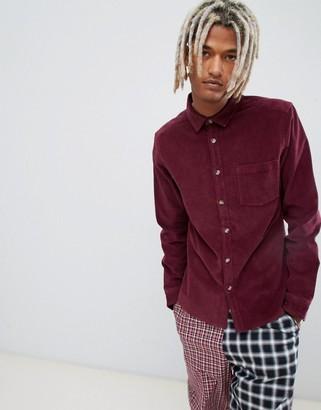 Asos Design DESIGN slim fit stretch cord shirt in burgundy-Red
