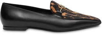 Burberry Leopard Print Detail Loafers