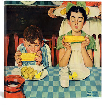 Rockwell Icanvasart Who`S Having More Fun (Kids Eating Corn) By Norman