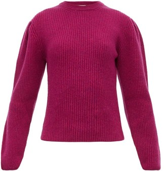 Lemaire Box Pleat Ribbed Wool Sweater - Womens - Burgundy