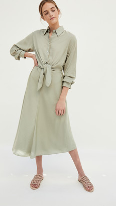 Vince Tie Front Shirt Dress
