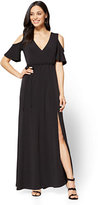 New York & Co. 7th Avenue Cold-Shoulder Wrap Maxi Dress -Tall