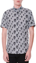 Alexander McQueen Skull-Print Striped Short-Sleeve Shirt