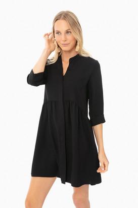 Black Silk Royal Shirt Dress