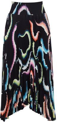 A.L.C. Sonali printed pleated satin midi skirt