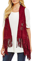 Anna & Ava Festival Fringed Cutout Faux-Suede Vest