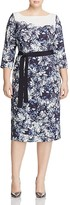 Marina Rinaldi Divinas Belted Floral Sheath Dress