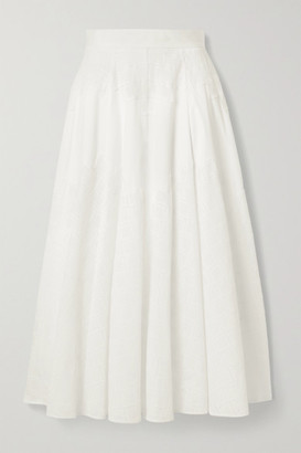 Lela Rose Embroidered Cotton-blend Poplin Midi Skirt - White