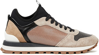 Brunello Cucinelli Bead-embellished Mesh, Suede And Neoprene Sneakers