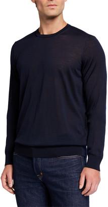 Giorgio Armani Men's Plain Knit Wool Sweater, Navy