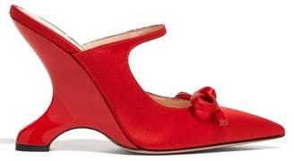 Prada Sculpted Heel Satin Mules - Womens - Red