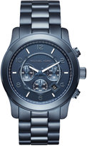 Michael Kors Men's Chronograph Runway Navy Ion-Plated Stainless Steel Bracelet Watch 45mm MK8538