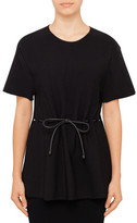 Alexander Wang Peplum T-Shirt With Leather Drawstring