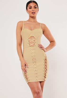 Missguided Premium Champagne Bandage Corset Mini Dress