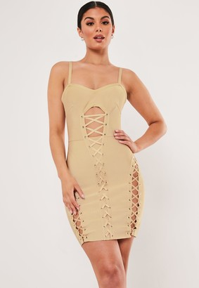 Missguided Premium Champagne Bandage Corset Mini Dress