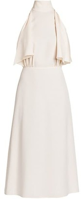 Prada Highneck Drape-Side Midi Dress