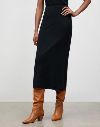 Lafayette 148 New York Italian Fine Gauge Merino KindWool Slim Pull-On Midi Skirt