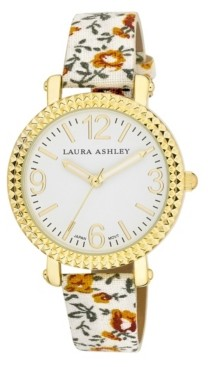 Laura Ashley Women's White Floral Band Fluted Bezel Watch