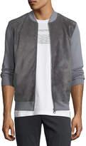Salvatore Ferragamo Men's Suede-Front Wool Zip-Front Sweater