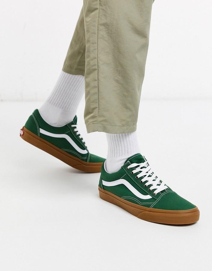 buy \u003e vans old skool green gum sole
