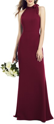 After Six Bow Neck Crepe Gown
