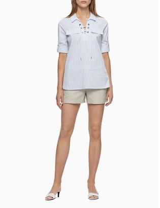 "Calvin Klein Linen Cotton Blend 4"" Drawstring Shorts"