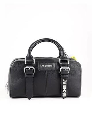 Love Moschino Black Eco-Leather Small Boston Bag