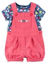 Carter's Size 12M 2-Piece Flower T-Shirt and Shortall Set