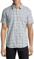 John Varvatos Mayfield Slim-Fit Plaid Sport Shirt, Medium Blue