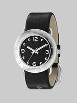 Amy Logo Bezel Leather Watch/Black