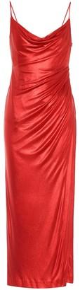 Galvan Mars metallic jersey slip dress