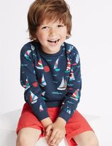 Marks and Spencer Cotton Rich All Over Print Sweatshirt (3 Months - 5 Years)