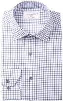 Lorenzo Uomo Boxed Plaid Trim Fit Dress Shirt