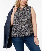 Tommy Hilfiger Plus Size Printed Ruffle-Trim Shell, Created for Macy's