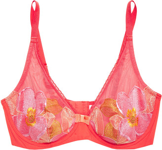 Wacoal Fascination Embroidered Stretch-mesh And Georgette Underwired Bra