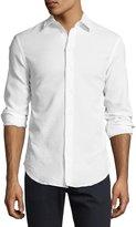 Armani Collezioni Textured Seersucker Sport Shirt, White