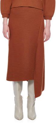 Tibi Wool Rib Sweater Origami Slit Skirt