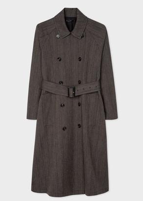 Women's Grey Pinstripe Double-Breasted Wool-Cotton Mac