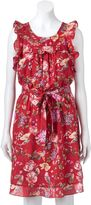 Lauren Conrad Women's Floral Ruffle Fit & Flare Dress